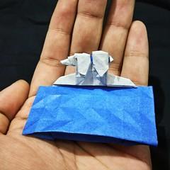 "ORIGAMI - ""My home just melted!"" ʕ ´•̥̥̥ ᴥ•̥̥̥`ʔ (Neelesh K) Tags: origami polar bear global warming climate change melting ice caps arctic paperfolding boxpleating color neeleshk colorchange"