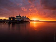 Mukilteo Ferry Fiery Sunset Light (www.mikereidphotography.com) Tags: ferry sunset gfx50s mediumformat mukilteo pugetsound fuji fujifilm sky clouds water dock