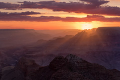 Sun Rays at the Grand Canyon (NickSouvall) Tags: grand canyon national park south rim arizona southwest united states desert watchtower overlook view sunset light sun rays shine orange pink red gold color colorful sky dramatic clouds warm rocks geology landscape nature