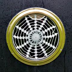 Canal Biat Curtain. (jenichesney57) Tags: circle crochet window boat glass cotton handwork canal