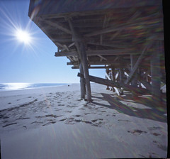 Silver Gull Beach Club - Off Season 9 (EssGee Photography™) Tags: breezypoint kodakektar100 newyork zero2000 wood weathered travel tourist silvergullbeachclub shore sand rockaway gatewaynationalrecreationarea beach analog pinhole atlanticocean