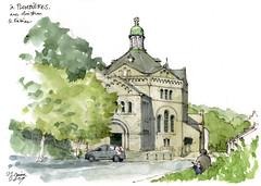 Plombières, église,1934 (gerard michel) Tags: belgium liège village église plombières sketch croquis architecture aquarelle watercolour