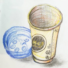 Café (Ceha :-)) Tags: dessin croquis esquisse drawing sketch café coffee cup gobelet maccafé pencil crayon crayondecouleur coloredpencils