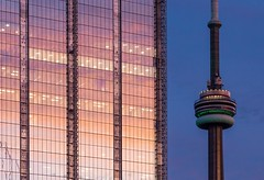Toronto Evening (Karen_Chappell) Tags: travel toronto city urban sunset pink blue tower architecture glass reflection evening night building windows cntower ontario canada canonef24105mmf4lisusm reflections