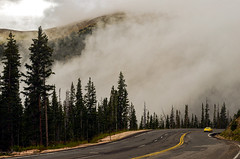 Driving above the clouds (Redbird310) Tags: car clouds fog mist mountains woods trees road nature landscape