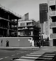 Density (suzannesullivan2) Tags: city construction architecture backnwhite bw crossing delta100 ilford bronica film analogue