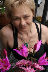 My beauty (krpena.lutkica) Tags: woman old skin smile happiness portrait flowers lilies pink