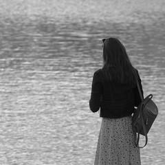 Untitled / Без названия (Boris Kukushkin) Tags: street photo girl water bw esplenade уличная фотография девушка женщина чб набережная woman