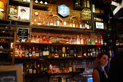 Liquor display - The Highlander, Melbourne (avlxyz) Tags: waitress