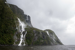 Waterfall (Cliver94) Tags: rain pouring torrential waterfall water lake river sea heavy cold ice snow nature natural landscape windy wind beautiful beauty new zealand nz south island milford sound morning cloudy
