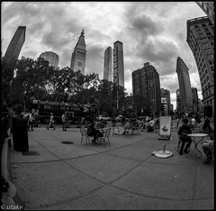 Nyc Madison square (Uta_kv) Tags: 6x6 kiev60 tmax400 mediumformat zodiak8b fisheyelens nyc timesquare filmphotography group6x6 mediumformatslr sovietcamera film bnw blackandwhitephotorgraphy streetphtography