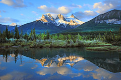 Three Sisters Mountain Peaks (ashockenberry) Tags: ashleyhockenberryphotography reserve eco beautiful beauty vacation canada landscape light lake river travel tourism rocky mountains reflection forest pond wedge kananaskis scenic scenery alberta