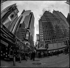 Time square (Uta_kv) Tags: 6x6 kiev60 tmax400 mediumformat zodiak8b fisheyelens nyc timesquare filmphotography group6x6 mediumformatslr sovietcamera film bnw blackandwhitephotorgraphy streetphtography