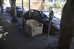 Comfort by the Minute (Generik11) Tags: furniture abandoned chairs cars parkingmeters trees shadows sf