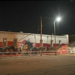 Aretha (ADMurr) Tags: la eastside mural aretha franklin night cars headlights rock steady hasselblad 500cm zeiss fuji pro 400 film 6x6 square mf dba491