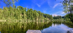Panorama of lake Egelsee in Tyrol, Austria (UweBKK (α 77 on )) Tags: österreich tyrol tirol austria europe europa iphone panorama panoramic lake water reflection nature outdoors tree forest blue sky green egelsee