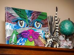 cat curios (wwnorm) Tags: animals bounceflash catfigure cats curioshelf diningroom knickknacks picaday2019