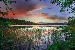 Håvaredviken (TheStolpskott) Tags: sävelången håvaredviken näässlott lake sunset godrays sky clouds dusk reflections mirror reed burningsky