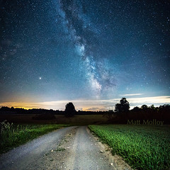 Back Road Stars (Matt Molloy) Tags: nature night sky stars milkyway galaxy core clouds trees field grass backroad gravelroad summer countryside landscape skyscape leedsandgrenville seeleysbay ontario canada explorecanada exploreontario mattmolloy photography canon panorama photoshop lightpainting outdoors