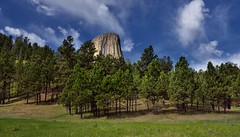 A Backdrop of Blue Skies and Clouds for Devils Tower (Bear Lodge) (thor_mark ) Tags: 1558m 5112ft azimuth233 bearlodge bearlodgebutte bearlodgemountains bellefourchelittlemissouriarea blackhills blueskies bluesskieswithclouds butte camranger capturenx2edited cloudwisps colorefexpro day8 devilstower devilstowernationalmonument evergreentrees evergreens grassland grassyarea grassyfield grassymeadow greatplains hillsideoftrees igneousrock imagecapturewithcamranger laccolithicbutte landscape lookingsw mixedgrassprairieecosystem nature nikond800e northamericaplains outside partlycloudy pinusponderosa ponderosapine portfolio prairiegrass prairiegrasses project365 redbedstrail rollinghillsides sunny trees triptodakotas triptodakotasandwyoming wyoming unitedstates