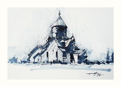 Saghmosavank 13 th century, Armenia (Gasheh) Tags: art painting drawing sketch architecture church monastery line pen maker gasheh 2019