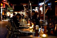 Degreaves (bobarcpics) Tags: melbourne melbournelaneway degreavesstreet outdoordining candles heaters people nightlifeinmelbourne winter pepperandsalt tablesandchairs emptyseats