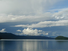 OLYMPUS DIGITAL CAMERA (vermillion$baby) Tags: blue canimlake cariboo caribooarea cloud clouds di dynamic lafarge lake reflection
