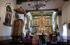 190609 124 Historic Mission San Juan Capistrano - East Wing, Serra's Church, the gold-leaf retalbo was made in Barcelona about 400 years ago