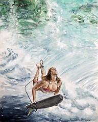 "Watercolor on aquabord ""Anna Ehrgott 1"" 24x30cm (Andreas Heinen) Tags: ocean board girl surf dive duck underwater ampersand claybord aquarell aquabord painting art watercolor"