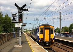 Shunt ahead at Morpeth (Chris Baines) Tags: ex scotrail sprinter 158 485 morpeth crossing over from down main up colour light signal northern service shunt ahead