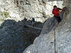 By the bridge of Ferrata Tridentina (Vid Pogacnik) Tags: italy mountain landscape outdoors italia hiking dolomites dolomiti ferrata tridentina sellagroup