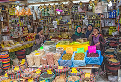 Arab Market at The Ancient City of Acre (Akko) (Ray in Manila) Tags: israel acre city shop ancient asia market historical akka akko eos650d girl women nuts arab efs24mm colours food beans yellow bags brass