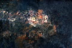 Manarola Blue (HWHawerkamp) Tags: italy cinqueterre manarola blue creativeedit graphics abstarct travel mood painting textures