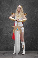 She-Ra cosplayer at ExCeL London's MCM Comic Con, May 2019 (Gordon.A) Tags: london docklands excel excellondonexhibitioncentre mcm moviecomicmedia comic con convention mcm2019 may 2019 festival event creative costume design style lifestyle culture subculture shera character cosplay cosplayer pretty lady woman people face model pose posed posing outdoor outdoors outside wall naturallight colour colours color colors amateur portrait portraiture photography digital canon eos 750d sigma sigma50100mmf18dc