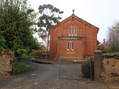 Kapunda. St Rose's Catholic Church hall. It was built in 1909 replacing an earlier hall from the 1860s. (denisbin) Tags: kapunda cooper mine coppermine church catholic kapundacatholic parish hallstabelsshedsrailwaystation kapundastation stainedglass window stroseschurch