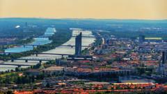 Vienna (theflyingtoaster14) Tags: wien vienna city town stadt bridges donau brücken danube sunlight sonne pastel pastell summer sommer skyscraper wolkenkratzer architecture architektur panasonic fz1000 akvis hdr
