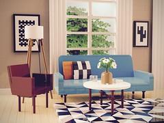 1950s Living Room (aukbricks) Tags: lego moc legomoc afol afolsweden design livingroom 1950s 1950shome sofa armchair lamp carpet legodigitaldesigner ldd mecabricks blender render rendering computerrendering
