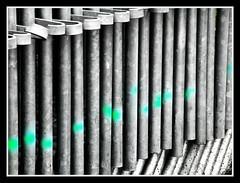 Points verts (Nitro76210) Tags: divers barrière métal vert gris