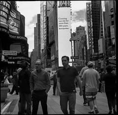 Fellas (Uta_kv) Tags: 6x6 kiev60 tmax400 mediumformat zodiak8b fisheyelens nyc timesquare filmphotography group6x6 mediumformatslr sovietcamera film bnw blackandwhitephotorgraphy streetphtography