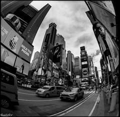"Time square"" (Uta_kv) Tags: 6x6 kiev60 tmax400 mediumformat zodiak8b fisheyelens nyc timesquare filmphotography group6x6 mediumformatslr sovietcamera film bnw blackandwhitephotorgraphy streetphtography"