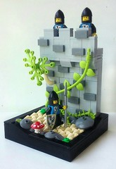 Black Falcon Patrol (LegoHobbitFan) Tags: lego moc build model creation castle medieval fantasy summer joust contest competition entry black falcon patrol path rocks mountain wall fortress knights tree vine gray grey