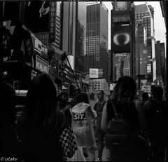 Movie shoot (Uta_kv) Tags: 6x6 kiev60 tmax400 mediumformat zodiak8b fisheyelens nyc timesquare filmphotography group6x6 mediumformatslr sovietcamera film bnw blackandwhitephotorgraphy streetphtography