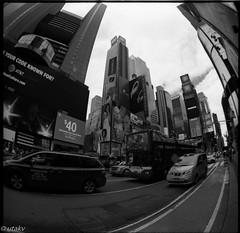 Fisheye time square (Uta_kv) Tags: 6x6 kiev60 tmax400 mediumformat zodiak8b fisheyelens nyc timesquare filmphotography group6x6 mediumformatslr sovietcamera film bnw blackandwhitephotorgraphy streetphtography