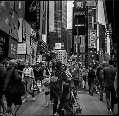 Chaos on the street (Uta_kv) Tags: 6x6 kiev60 tmax400 mediumformat zodiak8b fisheyelens nyc timesquare filmphotography group6x6 mediumformatslr sovietcamera film bnw blackandwhitephotorgraphy streetphtography