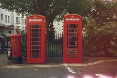 Telephone Boxes (andy broomfield) Tags: film filmisnotdead filmphotography 35mm dubblefilm colourfilm c41 dubblefilmapollo brighton brightonhove northlaine telephoneboxes redtelephonebox