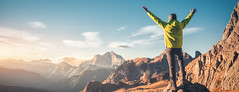 Reach The Peak with Bud Terrell (Bud Terrell Consulting CFO) Tags: man male mountain rock dolomites dolomiti italy cliff sky cloud sunset sunrise autumn fall trail vintage travel tourism adventure young people sporty alp alps alpe alpine high nature scenery traveler sport lifestyle silhouette outdoor person active top peak landscape climber healthy climb colorful hill beautiful trekking hiking yellow happy freedom financial planner consultant