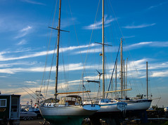 Boatyard (Bud in Wells, Maine) Tags: maine webhannetriverboatyard wells boats sailboats evening goldenhour light wellsharbor