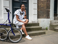 (grobs gfx) Tags: cycling bikes ladyvélo joolswalker vélocitygirl cyclechic cycleculture cyclestyle bicycle bicycling backintheframe representationmatters book booklaunch brompton london 2019 tattydevine columbiaroad