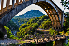 When the old meet the new. (Elias Chris) Tags: karytaina gortynia gortyniaarcadia arcadia arkadia arcadiagreece bridge river canyon nature nikon nikond5100 greece