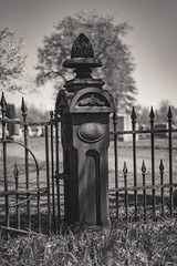 Cemetary Fence (mns_mike) Tags: cemetary fence goshen indiana bw vintage old iron cemetery
